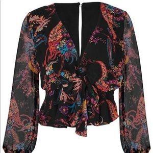 NWT Venus black print blouse with tie front sz 12